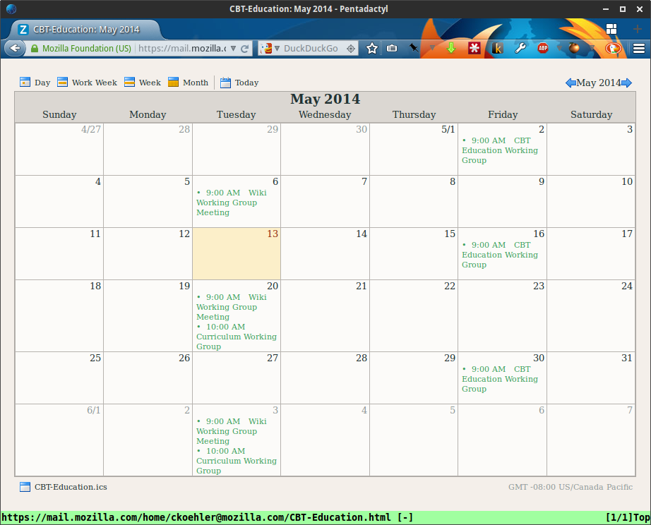 Public, shared calendar for CBT Education Working Group