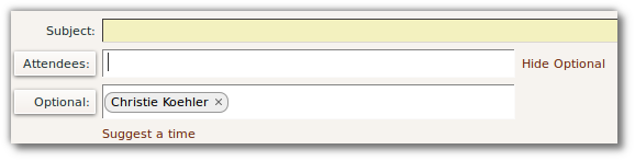 optional attendee field in Zimbra