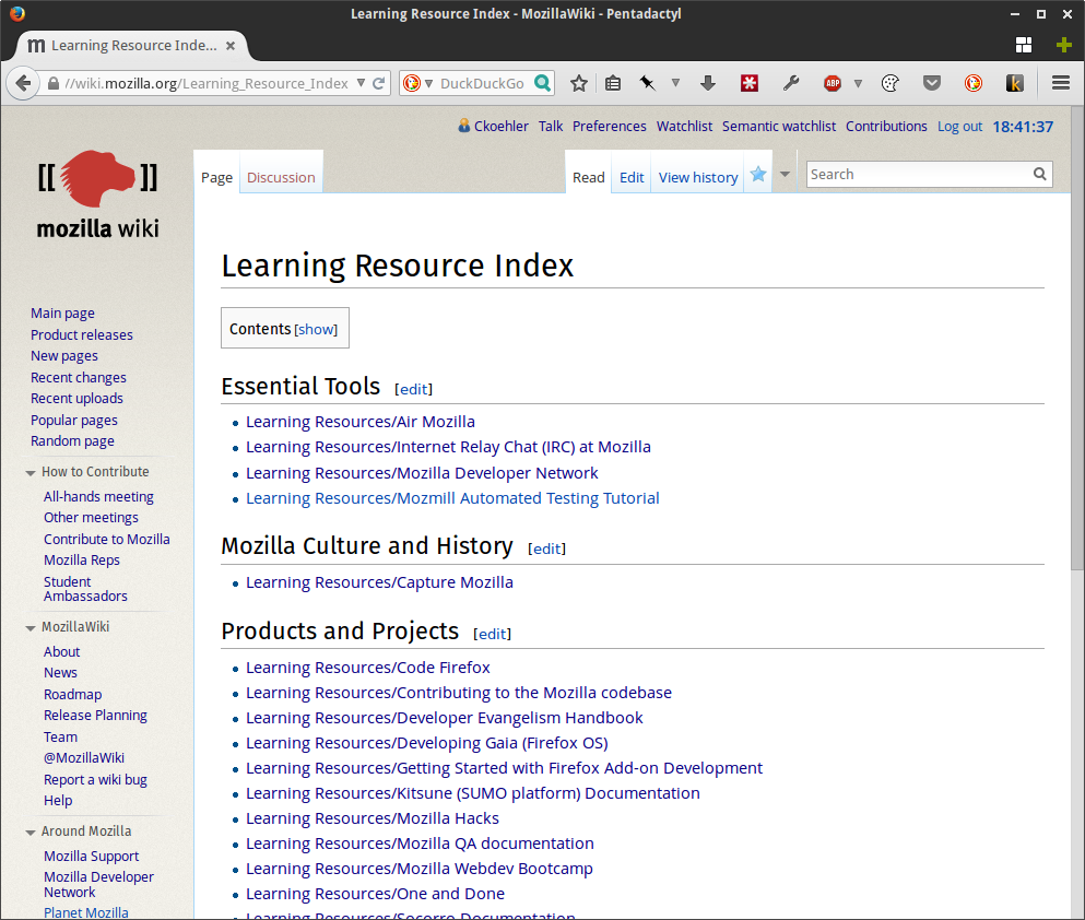Learning Resource Index - MozillaWiki - Pentadactyl_379