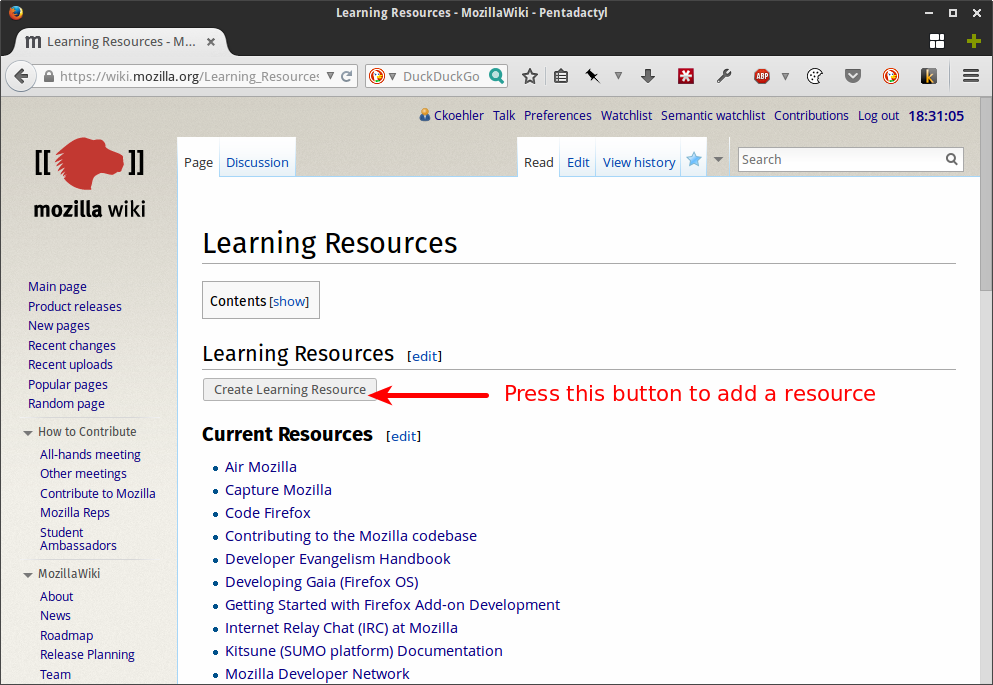 Prototype of Learning Resource Directory homepage.