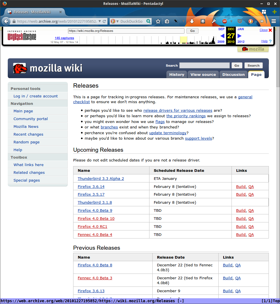 MozillaWiki December 2010 Releases page