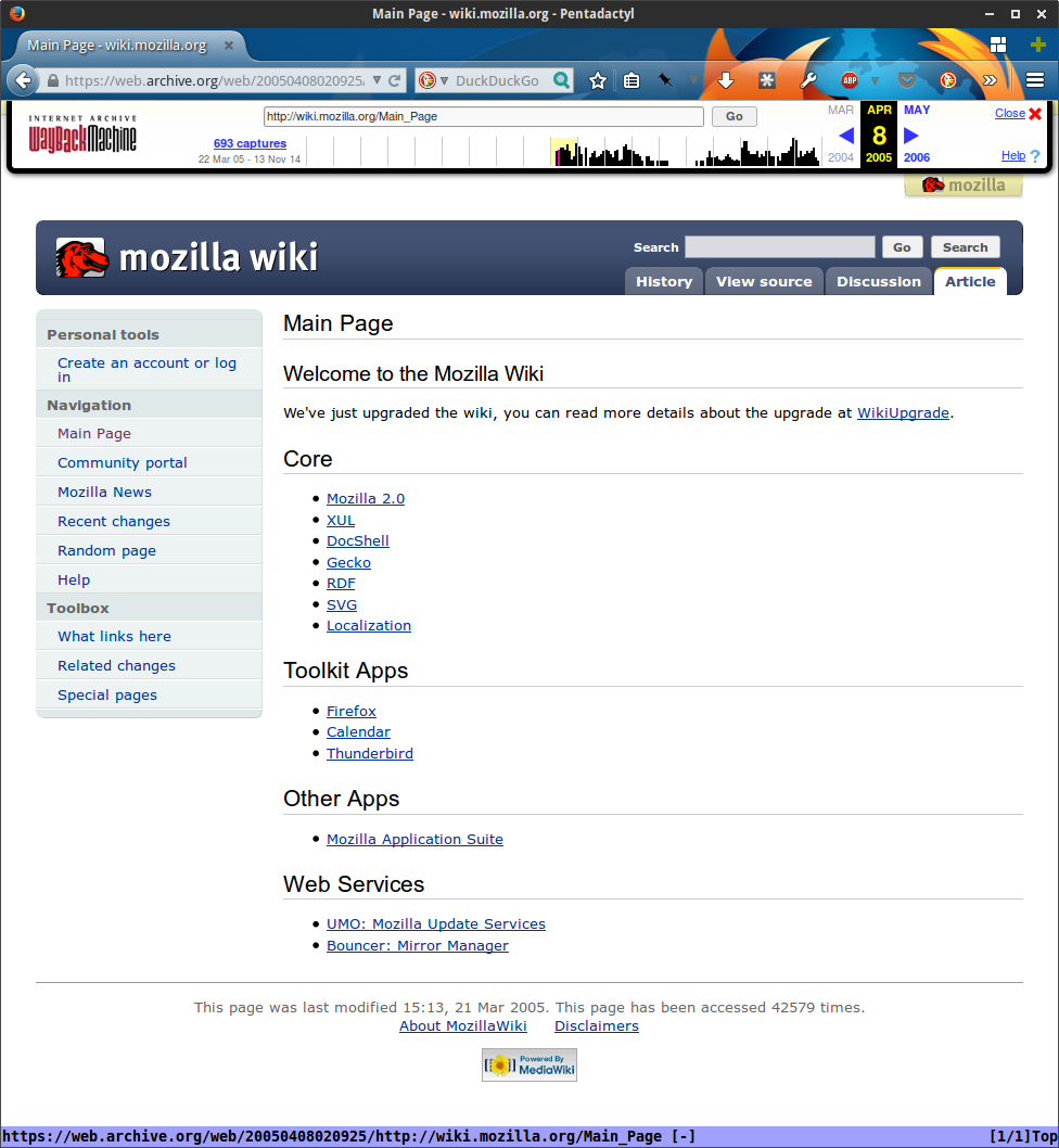 Mozilla Wiki, April 2005