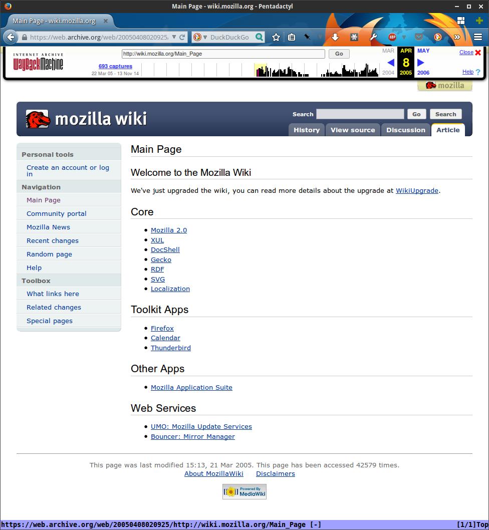 Mozilla Wiki, April 2005