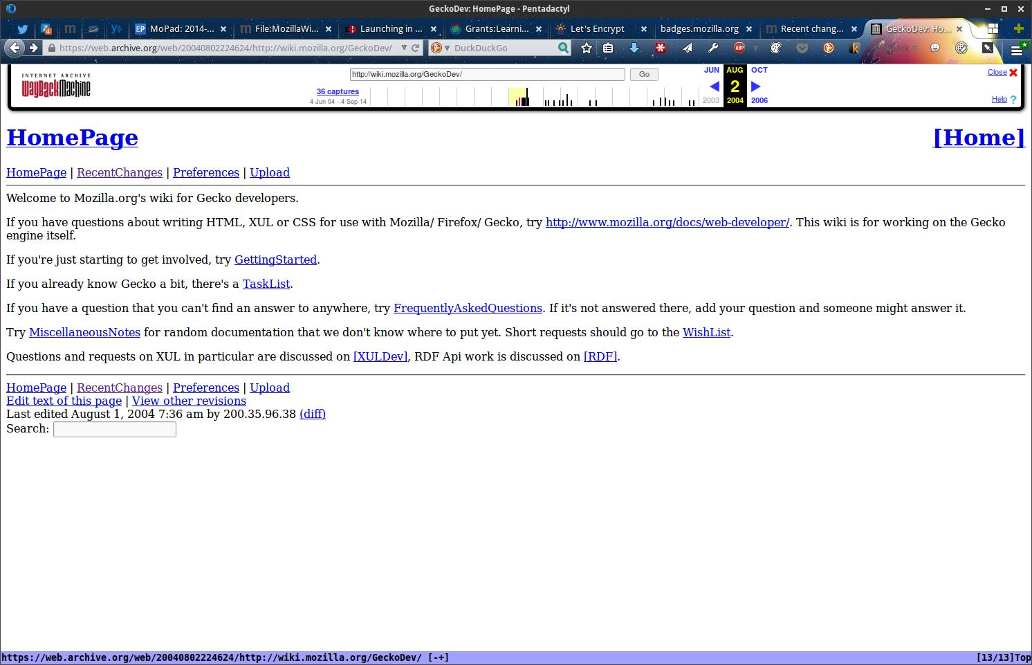 wiki.mozilla.org/GeckoDev August 2004