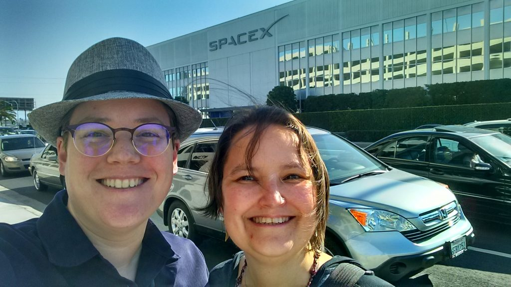 Smiling because we just toured a fraking rocket facility!