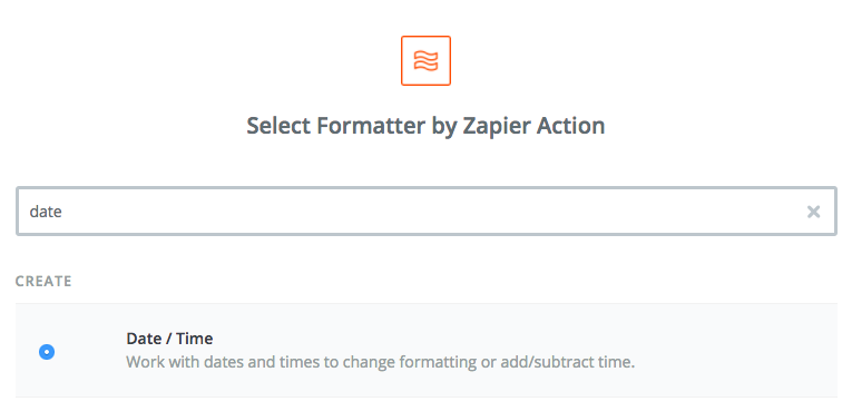 Screen capture of using the date action for app Formatter.