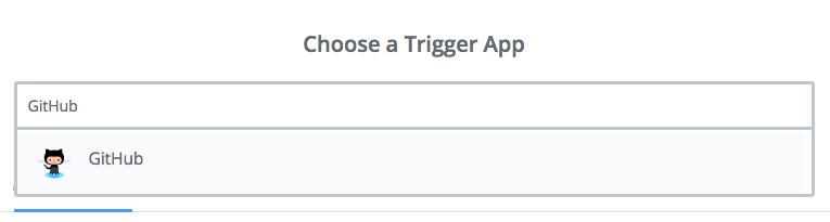 "Screen capture of selecting ""GitHub"" as trigger app."