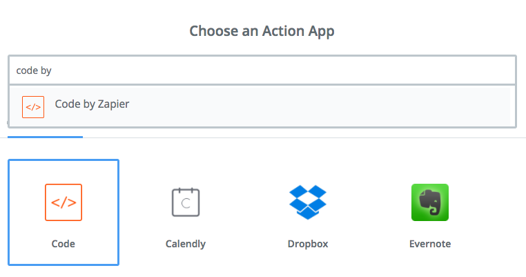 For Step 3, select the Code by Zapier app.
