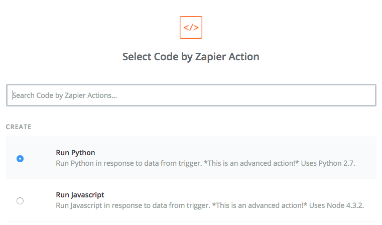 Select Run Python as Code by Zapier action.