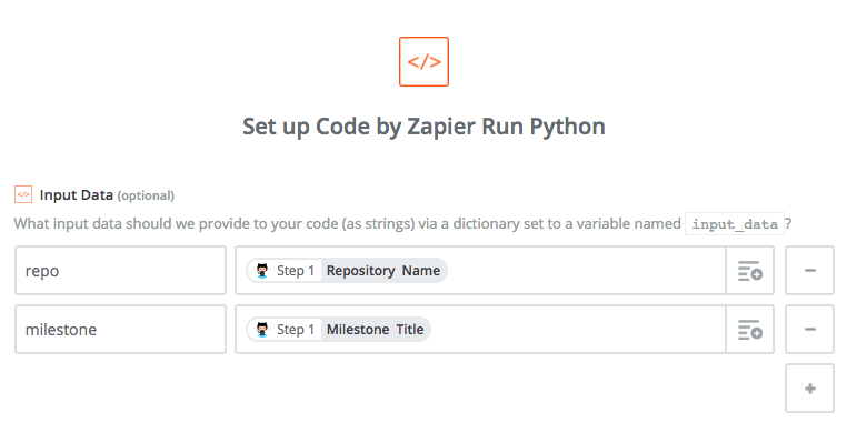 Configure input data for custom python code.