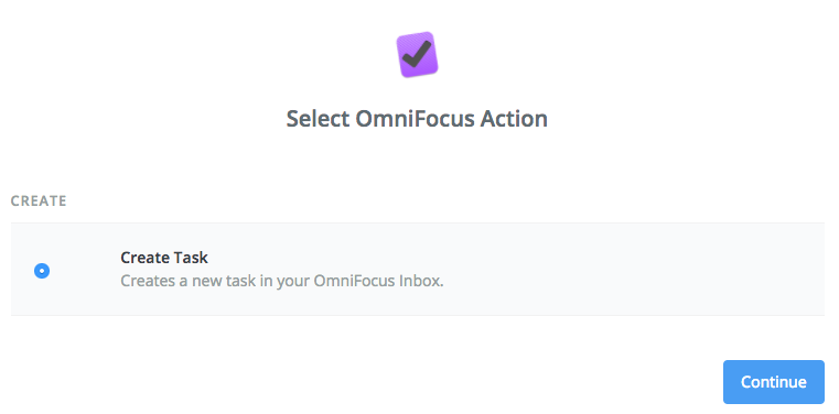 Select create task action for OmniFocus app.