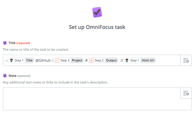 Configure create task omnifocus action.