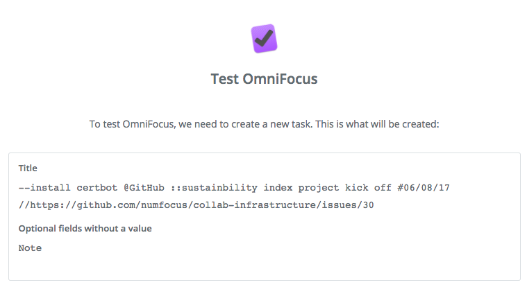 Test create task OmniFocus action.