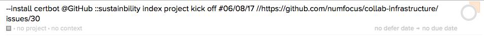 New task in OmniFocus Inbox.